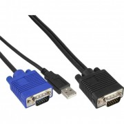 "InLine Set cavi KVM Switch 19"" (Connettore di sistema 15pin HD) e PC (USB + VGA). Lunghezza 3m"