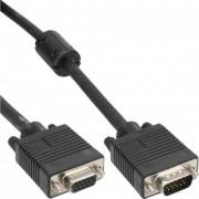 InLine Cavo S-VGA, Sub-D 15pin HD femmina a Sub-D 15pin HD maschio, 0,5m, 1x ferrite, nero