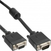 InLine Cavo S-VGA, Sub-D 15pin HD femmina a Sub-D 15pin HD maschio, 1m, 1x ferrite, nero