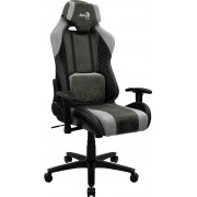 AEROCOOL BARON HUNTER GREEN AEROSUEDE PREMIUM GAMING CHAIR, LEATHERETTE, CARBON FIBER, ERGONOMIC CUSHIONS
