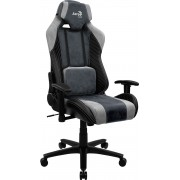 AEROCOOL BARON STEEL BLUE AEROSUEDE PREMIUM GAMING CHAIR, LEATHERETTE, CARBON FIBER, ERGONOMIC CUSHIONS