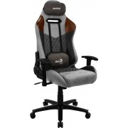 AEROCOOL DUKE TAN GREY AEROSUEDE PREMIUM GAMING CHAIR, LEATHERETTE, CARBON FIBER, ERGONOMIC CUSHIONS