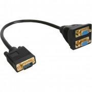 InLine Cavo VGA, Sub-D 15pin maschio a 2x VGA Sub-D 15pin femmina, 0,1m, Sdoppiatore, compatto, nero