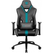 THUNDERX3 YC3 CYAN BLACK HI-TECH GAMING CHAIR, ULTRA COMFORT, AIR-TECH, LEATHERETTE & CARBON FIBER, ERGONOMIC CUSHIONS