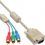 InLine Cavo VGA RGB, 5x  RCA maschio a Sub-D 15pin maschio, 3m, RGB, pin dorati, beige