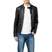 Kings on Earth - Giacca in Pelle da Uomo, chiusura Zip - Black