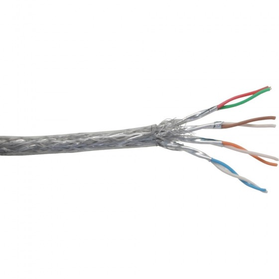 InLine Cavo LAN Cat.6, S/FTP (PIMF), 4x2xAWG 26/7 (flessibile), CU (100% rame), guaina PVC trasparente, Pull-Out Box 100m