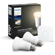 Philips Lighting Hue White Starter Kit: 2 Lampadine E27 Luce Bianca Calda Dimmerabile + 1 Bridge Hue