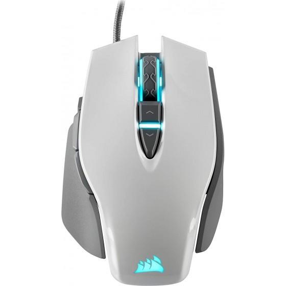 Corsair M65 ELITE RGB Ottico Fps Mouse Gaming, 18000 Dpi Ottico Sensore, Retroilluminazione a Rgb LED, Bianco