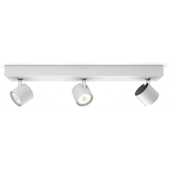 Philips Lighting Star, Lampada 3 Faretti LED Integrato Orientabili, Bianco, 3 x 4.5 W