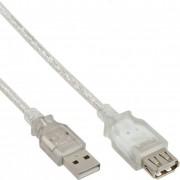 InLine Cavo USB 2.0, Prolunga, Type A, maschio / femmina, trasparente, 1m