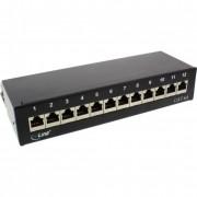 InLine Patch Panel Cat.6A, 12-porte, installazione tavolo/parete, nero RAL9005