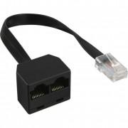 InLine Accoppiatore ISDN da ingresso RJ45 maschio su cavo a 2 uscite RJ45 femmina senza resistenza pull-up, 8P4C, c.a 15cm