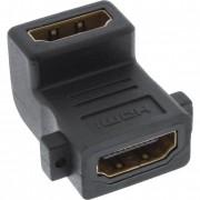 InLine Adattatore HDMI femmina a HDMI femmina, montaggio pannello con viti, contatti dorati, angolato 90°