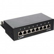 InLine Patch Panel Cat.6A, 8-porte, installazione guida DIN in server rack, nero RAL9005