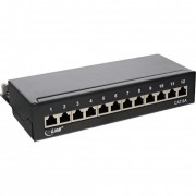 InLine Patch Panel Cat.6A, 12-porte, installazione guida DIN in server rack, nero RAL9005