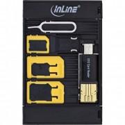 InLine SIM-BOX, contenitore stoccaggio trasporto moduli SIM, adattatori SD, Removal-Pin, OTG USB Card Reader