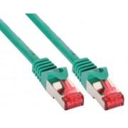 InLine Cavo Patch per rete dati Lan Cat.6, 2x RJ45, doppia schermatura SFTP (PiMf), HalogenFree, colore verde, 0,3m
