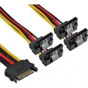 InLine Cavo SATA alimentazione da 15pin Power SATA maschio (Alim.) a 4x 15pin Power SATA femmina (HDD), cscatto, 90 gradi valto