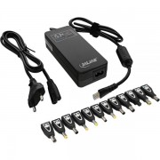 InLine Alimentatore Notebook, 90W, USB, 100-240V, Display a colori, nero, 12 Plug secondari