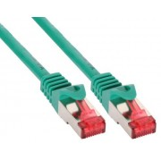 InLine Cavo Patch per rete dati Lan Cat.6, 2x RJ45, doppia schermatura SFTP (PiMf), HalogenFree, colore verde, 3m