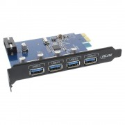 InLine Scheda USB 3.0 host controller, 4 porte, black edition, Staffa Low profile Inclusa, Chipset: VIA VLI805