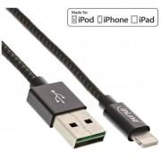 InLine Cavo Lightning USB, sincronizzazione dati e caricabatteria iPad, iPhone, iPod, Licenziato MFi, guaina tessuto nero/argent