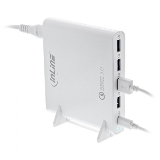 InLine Quick Charge 3.0 USB notebook power supply, 4x USB A + USB Type-C, 80W, white