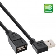InLine Smart USB 2.0 prolunga Type A maschio angolato a Type A femmina, nero, 1m