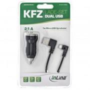 InLine Alimentatore USB per Auto, In: 12/24V, Out: USB 5V/2100mA, dimensioni mini 45x25mm, nero