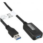 """InLine Cavo USB 3.0 Attivo, Type-A maschio/ Type-A femmina, amplificatore segnale """"repeater"""" integrato, 5m"""