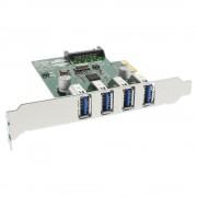 InLine Scheda USB 3.0 Host-Controller aggiuntiva, 4x porte esterne, PCIe ( PCI-Express )