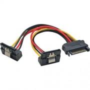 InLine Cavo SATA alimentazione da 15pin Power SATA maschio (Alim.) a 2x 15pin Power SATA femmina (HDD), cscatto, 90 gradi valto