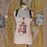 AGNESE - T-Shirt senza maniche dipinta a mano - Love