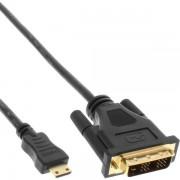 InLine Cavo Adattatore Mini HDMI Standard - DVI, FullHD 1080p. Type-C Mini maschio/ DVI-D (18+1) maschio, pin dorati, nero, 5m