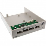 "InLine HUB USB 2.0 su pannello frontale per Slot Bay 3,5"" (floppy), 4 porte Hi-Speed Type A femmina, colore beige"