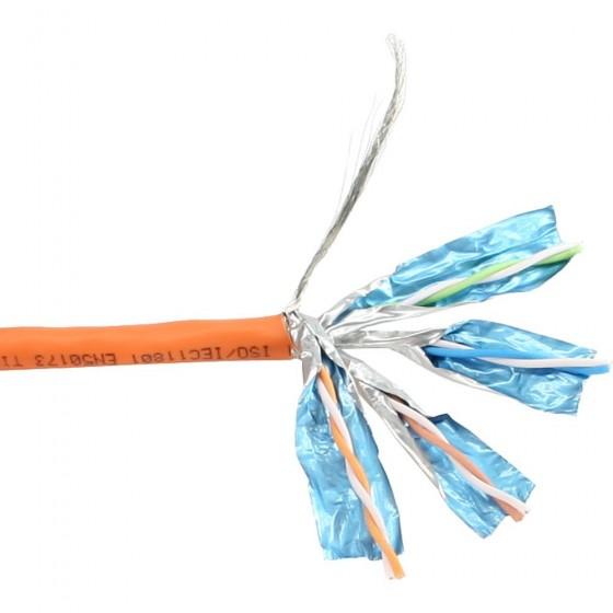 InLine Cavo LAN Cat.6, S/FTP, 4x2xAWG23/1 (rigido), CU (100% rame), 250MHz, guaina HalogenFree arancione, 100m